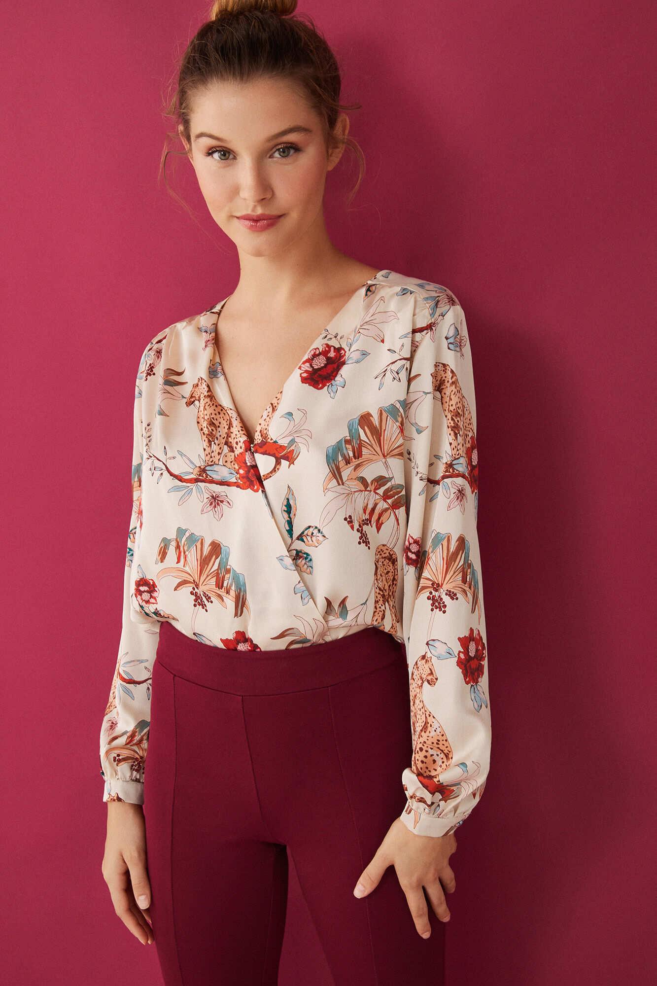 Боді-блуза з довгими рукавами з квітковим принтом