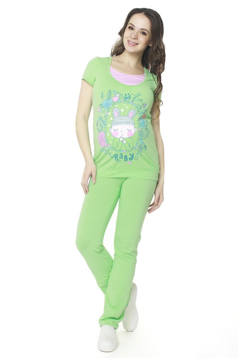 Спортивный костюм для беременных и кормящих 07547 зеленый