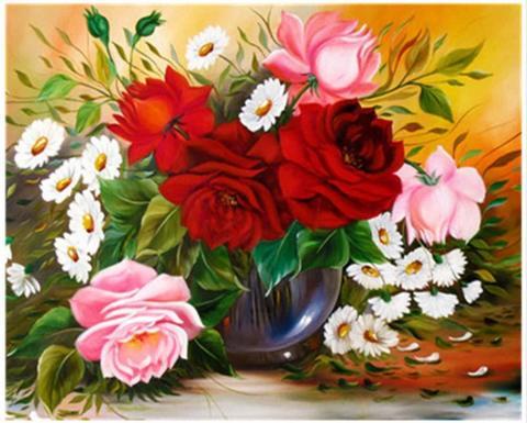 Алмазная Мозаика 30x40 Букет из роз и ромашек в вазе