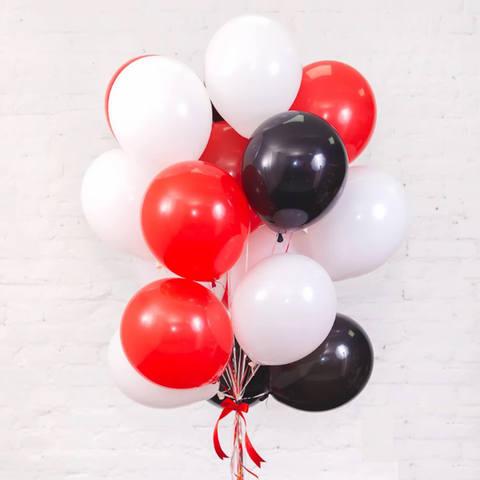 25 шаров 36 см красные и белые и черные