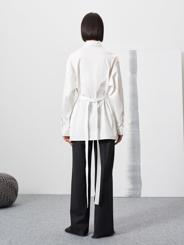 Рубашка Flo с поясом из кармана, Молочный