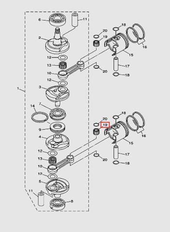Штифт подшипника поршневого пальца для лодочного мотора T40 Sea-PRO (3-19)