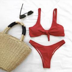 Купальник красный раздельный с узлом на груди Knot Red 1