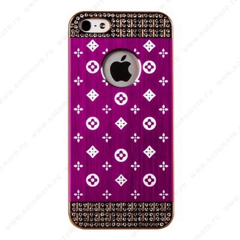 Накладка LV металлическая для iPhone SE/ 5s/ 5C/ 5 золото ярко-розовая