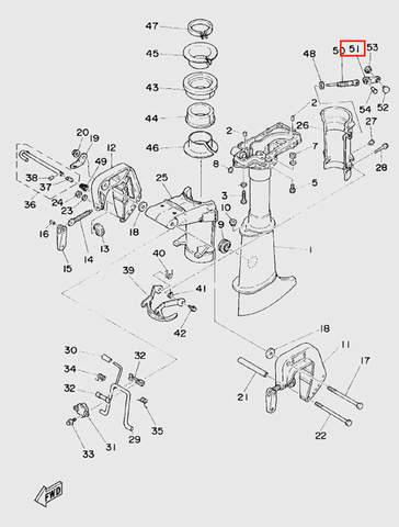 Ручка винта фиксации дейдвуда для лодочного мотора T5 Sea-PRO (10-51)