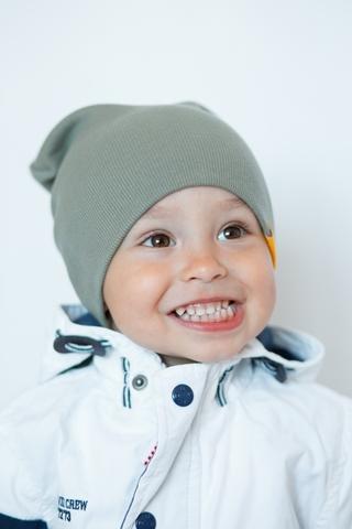 Детская шапка хлопковая в рубчик эвкалиптово-серая