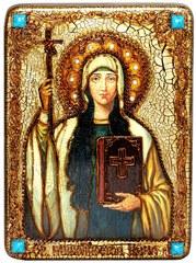 Инкрустированная икона Святая Равноапостольная Нина, просветительница Грузии 29х21см на натуральном дереве в подарочной коробке