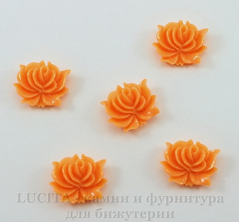 "Кабошон акриловый ""Дикая роза"", цвет - оранжевый, 12х10 мм, 5 штук"