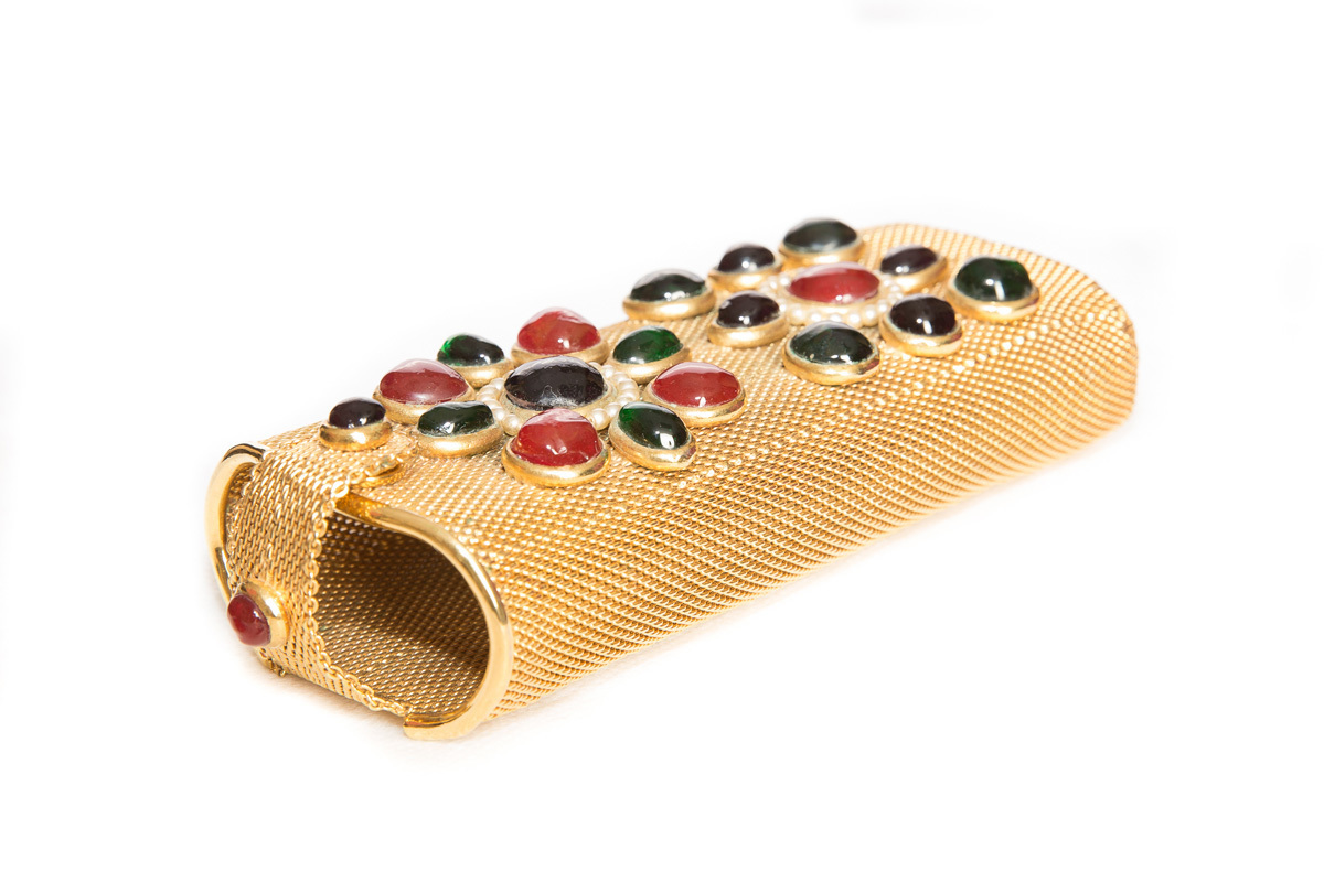 Unique Chanel clutch bag with cabochons made of Gripoix glass