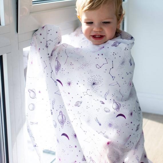 Пеленка детская муслин Adam Stork Galaxy