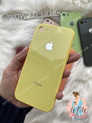 Чехол iPhone 7/8 Glass Pastel color Logo /yellow/