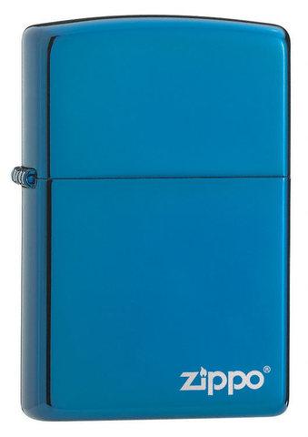 Зажигалка Sapphire Zippo Logo, латунь/сталь, синяя с фирменным логотипом, глянцевая
