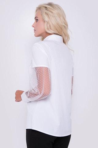 Стильная, эффектная, офисная блузка. Длинный рукав на манжете, отрезной, по линии ниже плеча на сборке. Ворот на стойке. По переду планка с пуговицами.