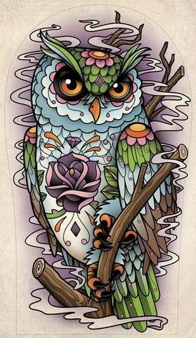 Алмазная Мозаика 30x40 Разноцветная поп-арт сова