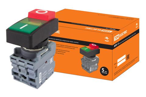 Кнопка двойная MPD13-11G (зеленая/красная-выступающая) (LED) d22мм/24В (I/O)  линза зеленая TDM