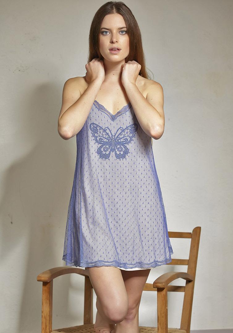 Короткая ночная сорочка с бабочкой Rebecca & Bros