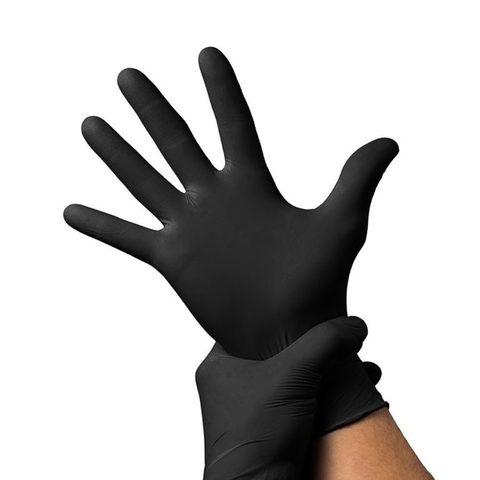 Черные перчатки нитриловые UNEX 100 шт, M
