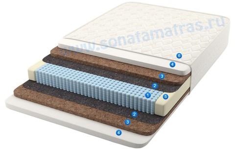 Матрас анатомический, 512 пружин, пружинный, односпальный,  жёсткий, с эффектом памяти и кокосом Domenica plus