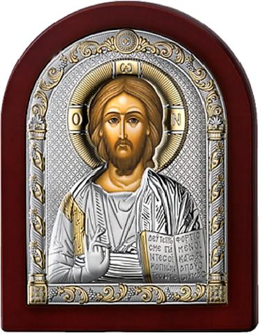 Серебряная икона Иисус Христос Спаситель (прозрачный лак, повышенное качество!)