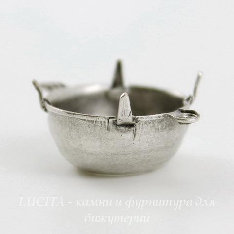 Сеттинг - основа - коннектор (1-1) для страза 14 мм (оксид серебра)