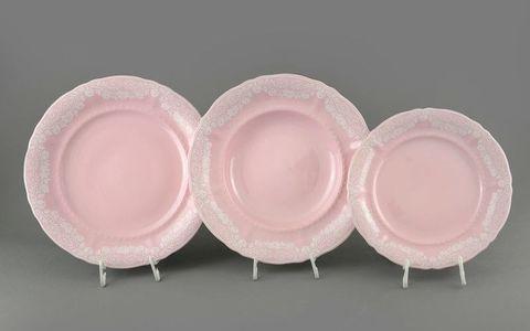 Белые узоры розовый фарфор