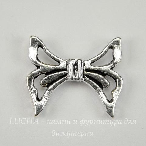 "Бусина металлическая ""Бантик"" 20х17 мм (цвет - античное серебро)"