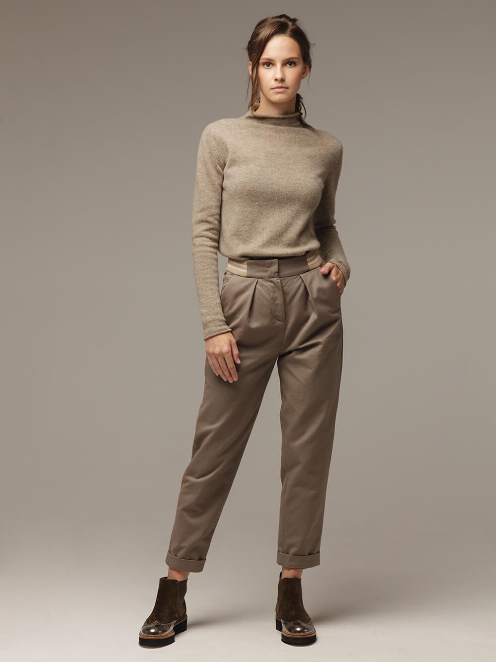 Женские серо-коричневые брюки из хлопка - фото 1