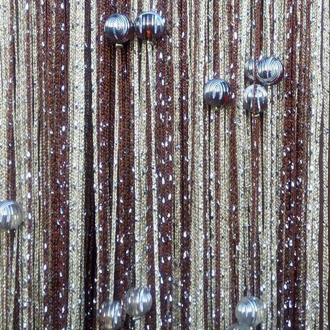 Шторы дождь радуга с шарами - Коричневый, бежевый. Ш-300см., В-280см. Арт.8-14