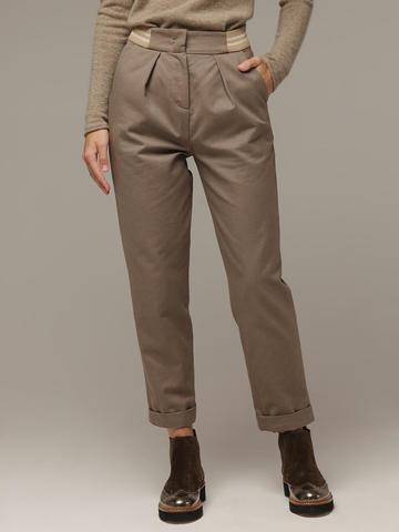 Женские серо-коричневые брюки из хлопка - фото 3