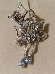Бабочка  (кольцо + серьги из серебра)