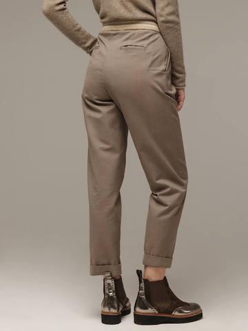 Женские серо-коричневые брюки из хлопка - фото 2