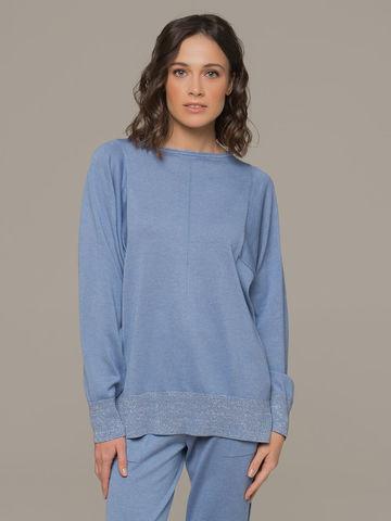 Голубой джемпер из шёлка и кашемира, с квадратной линией проймы - фото 2
