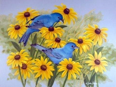 Алмазная Мозаика 30x40 Синие птицы на цветах