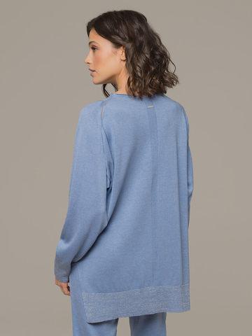 Голубой джемпер из шёлка и кашемира, с квадратной линией проймы - фото 4