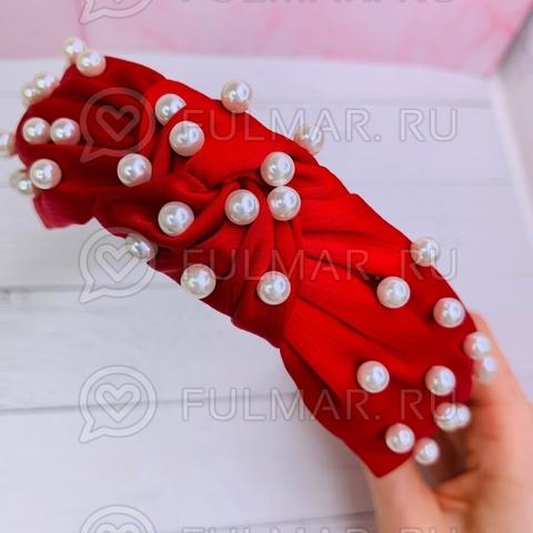 Красный ободок чалма для волос с искусственным жемчугом Mia