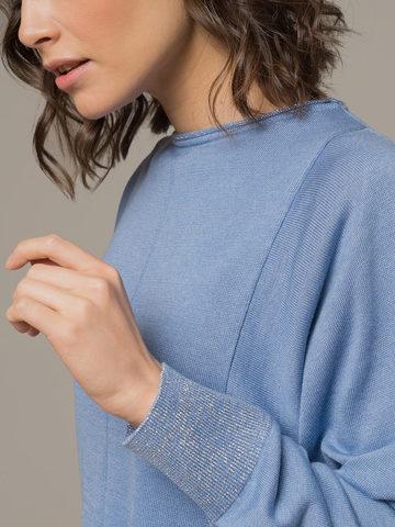 Голубой джемпер из шёлка и кашемира, с квадратной линией проймы - фото 3