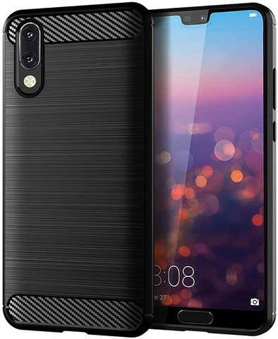 Чехол Huawei P20 цвет Black (черный), серия Carbon, Caseport