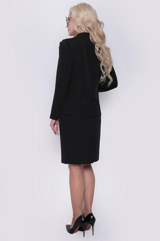 Шикарный костюм из плательной ткани. Приталенный жакет на пуговицах. Рукав длинный, юбка прямая, классическая, на замке. (Длина юбки: 46=54см; 48=55см; 50=56см; 52=57см;)
