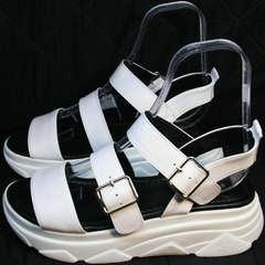Кожаные босоножки на спортивной подошве женские Evromoda 3078-107 Sport White