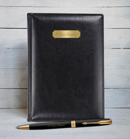 Набор с гравировкой: Ежедневник  и Шариковая ручка Parker Sonnet Black GT