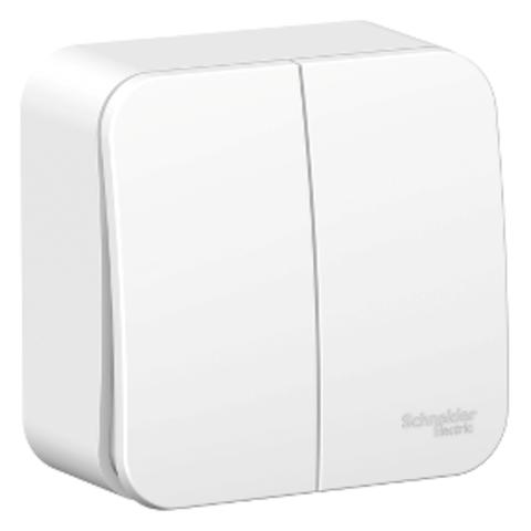 Выключатель двухклавишный накладной 10А. 250В. Цвет Белый. Schneider Electric Blanca. BLNVA105011