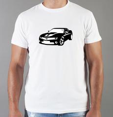 Футболка с принтом Шевроле, Камаро (Chevrolet, Camaro) белая 005