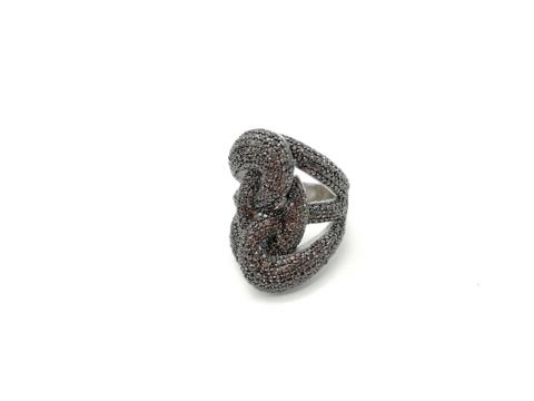 Широкое кольцо Узел из серебра с коричневыми микроцирконами