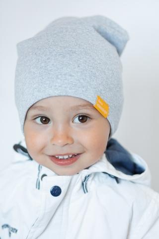 Детская шапка хлопковая гладкая серая меланжевая
