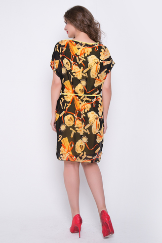 <p>Пленительное платье «двойка», состоящее из прилегающего трикотажного платья с круглым вырезом и платья из воздушного шифона с вырезом «лодочка». В комплект входит поясок. (Длина трикотажного платья 46 -48 =96см; 50 =102см 52-104см)</p>