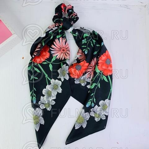 Платок с резинкой модный аксессуар для волос Цветы (цвет: чёрный)