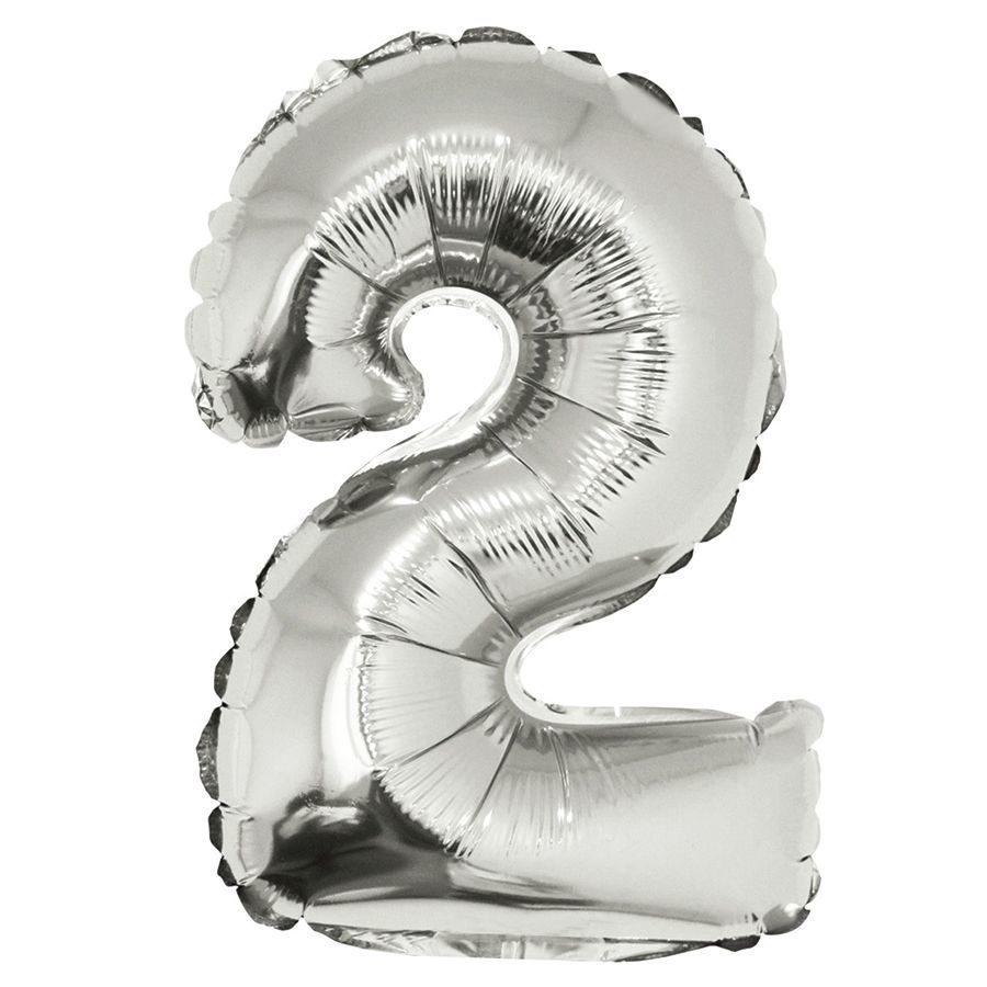 Фольгированный шар цифра 2 серебряная
