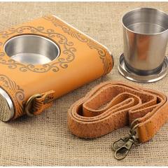 Фляга со встроенным стаканчиком, чехол и ремешок из кожи, 600 мл, фото 4