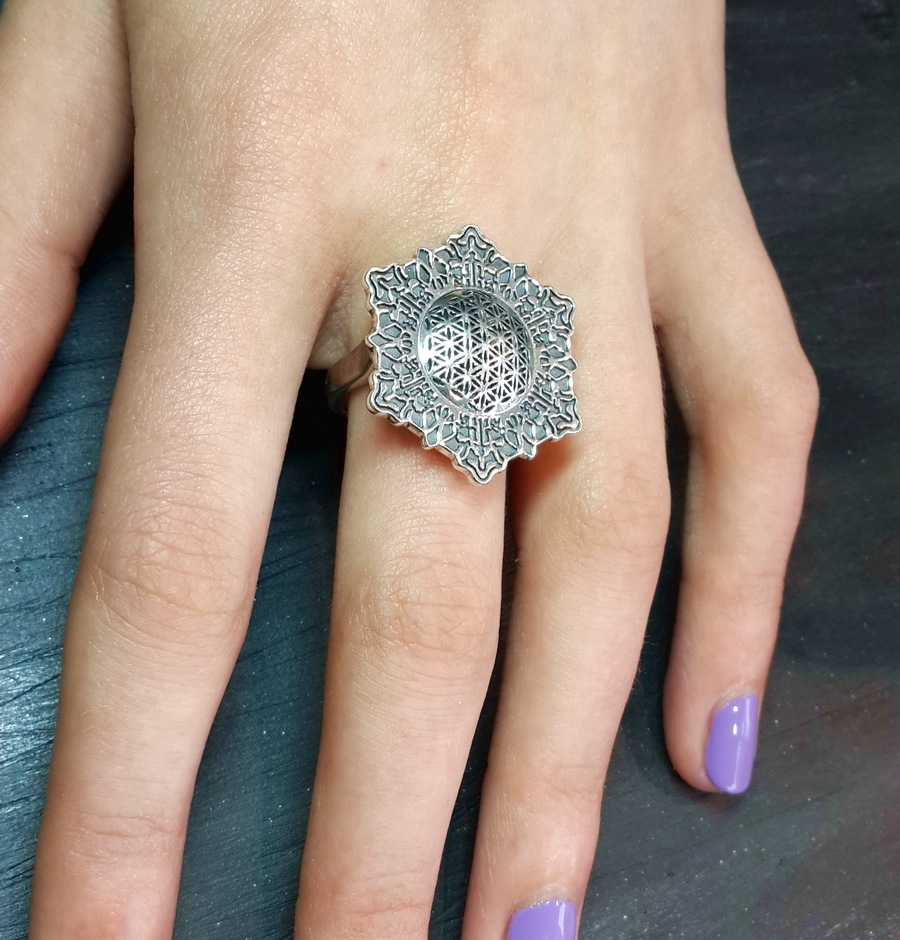Flower of Life Ring 27mm, sterling silver