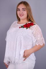 Квитка Роза. Касивая блуза size plus. Белый.